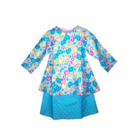 Baju Kurung Peplum Baby Dress Blue Love